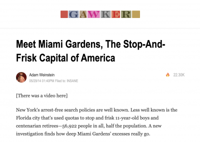 Gawker Story on Stop and Frisk Capital of the World