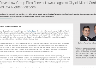 Press Release –  Stephan Lopez filed a civil rights lawsuit against the City of Miami Gardens